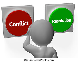 arbitrato, mostra, combattimento, bottoni, risoluzione, o, conflitto