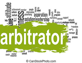 Arbitrator word cloud with green banner image with hi-res...