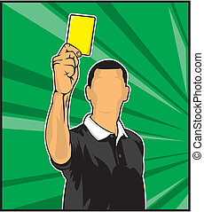 arbitre, carte, football, jaune, donner