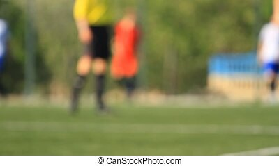 arbitre, football, jambes, joueurs