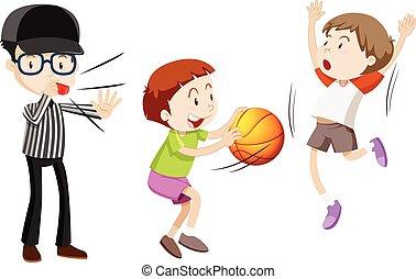 arbitro, pallacanestro, bambini giocando