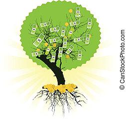arbol dinero, con, dólares., vector, ilustración
