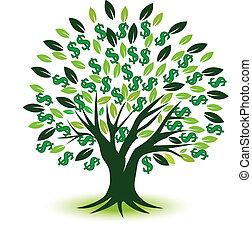 arbol dinero, prosperidad, símbolo, logotipo