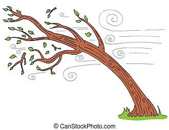arbol ventoso día, doblando, roto, ramas