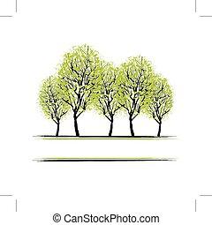 arboleda, diseño, verde, su, árboles