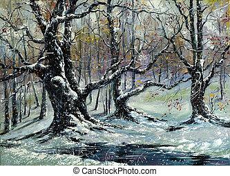 arboleda, roble, invierno