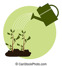 Arbor Day Icon - Illustration of two young green plants been...