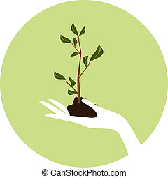 Arbor Day Icon - Illustration of a hand holding a young...