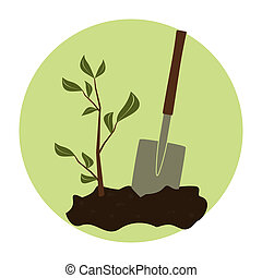 Arbor Day Icon - Illustration of a young green plant and a...