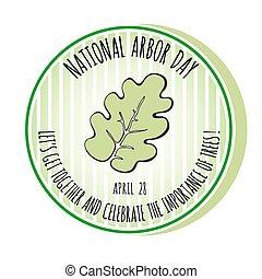 Arbor Day icon. Oak leaf. Vector illustration.