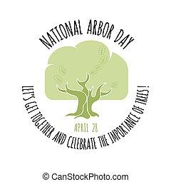 Arbor Day icon. Oak tree. Vector illustration.