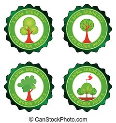 Arbor day - Set of round labels for arbor day. Vector...