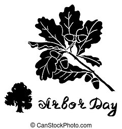 Arbor Day sign with Oak tree.