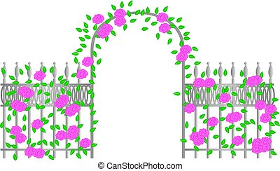 Arbor with Pink Roses - A metal arbor with pink roses.