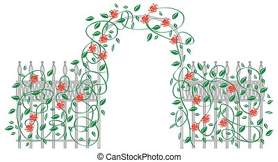 Arbor with Roses - A metal arbor with roses and leaves...