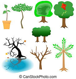 A veritable forest of arboreal elements and icons for your tree-related imaging needs.