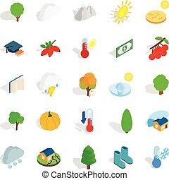 Arboreal icons set, isometric style