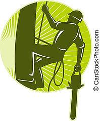 arborist, chirurg drzewa, chainsaw, retro