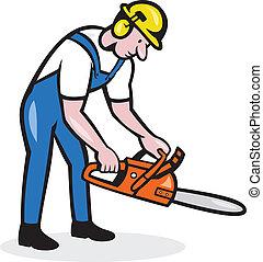 arborist, kettingzaag, het werken, houthakker, spotprent