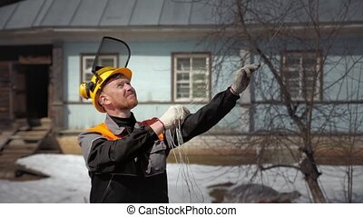 arborist stretches rope to the top of the tree - arborist...