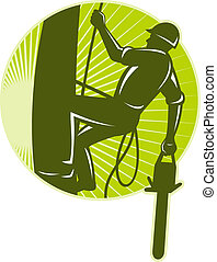 illustration of an arborist tree surgeon with chainsaw climbing a tree done in retro style set inside circle