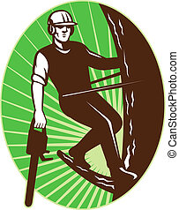 illustration of an arborist tree surgeon with chainsaw climbing a tree done in retro style set inside an ellipse