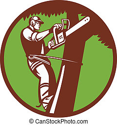 Illustration of a tree surgeon arborist trimmer pruner cutting with chainsaw climbing tree set inside circle done in retro style.