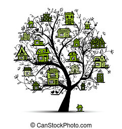 arbre, à, vert, maisons, sur, branches