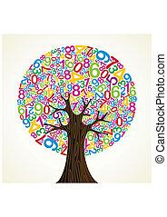 arbre, école, concept, education