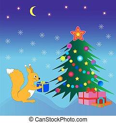 arbre., écureuil, cadeau, noël