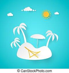arbre., été, coupure, vacation., île, illustration, exotique, vecteur, paume, papier