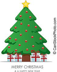 arbre, étoile, or, cadeau, noël