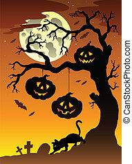 arbre 2, scène halloween