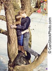 arbre, adolescent coupler, parc, romantique