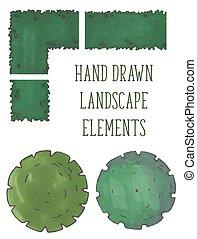 arbre, arbres, main, vecteur, dessiné, buissons, sommet