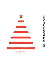 arbre, arrière-plan., vecteur, ruban, blanc, brillant, noël, rouges