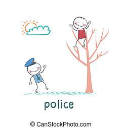 arbre, assied, criminel, police