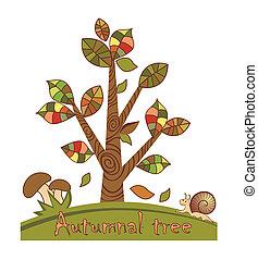 arbre, automnal