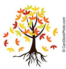 arbre, automnal, racines