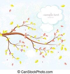 arbre, automne, branche, invitation, gracieux, carte