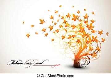 arbre, |, automne, vecteur, propre, composition