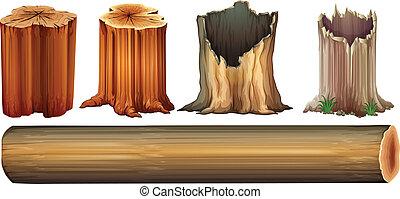 arbre, bûche, tronçons