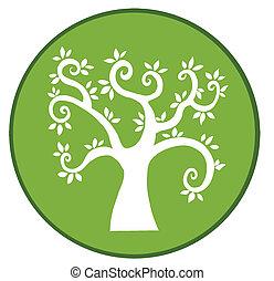 arbre, bannière, vert