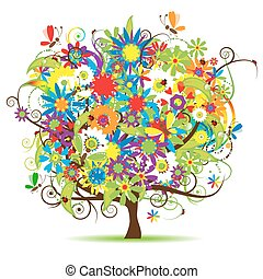 arbre, beau, floral