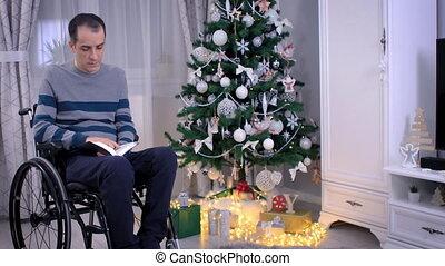 arbre, bible, lecture homme, chrétien, fauteuil roulant, ...