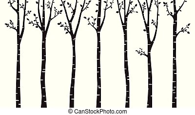 arbre, blanc, silhouette, fond, bouleau