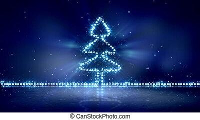 arbre, bleu, incandescent, lumières, noël