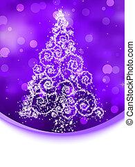arbre, bokeh., illustration, eps, violet, 8, noël