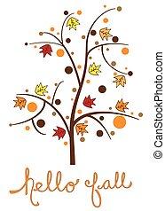 arbre, bonjour, automne
