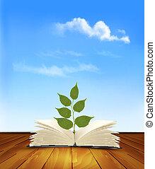 arbre, book., vert, vector., croissant, ouvert